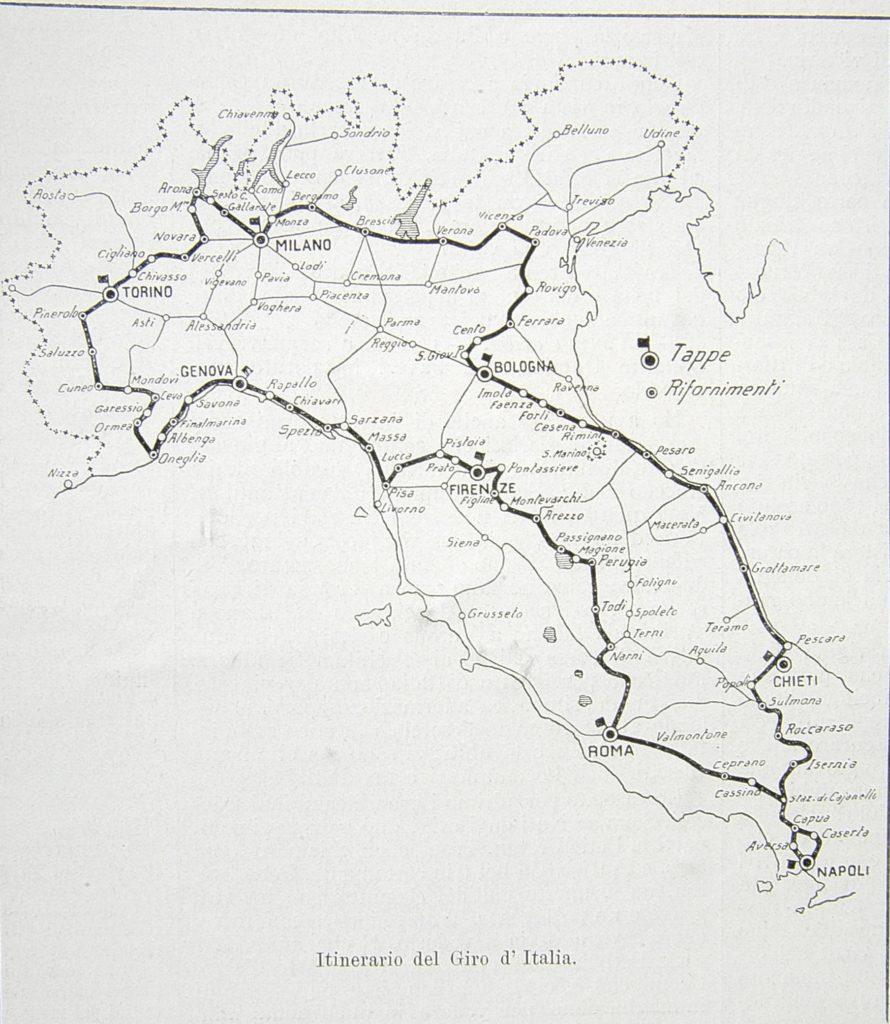 il percorso ufficiale del primo Giro d'Italia